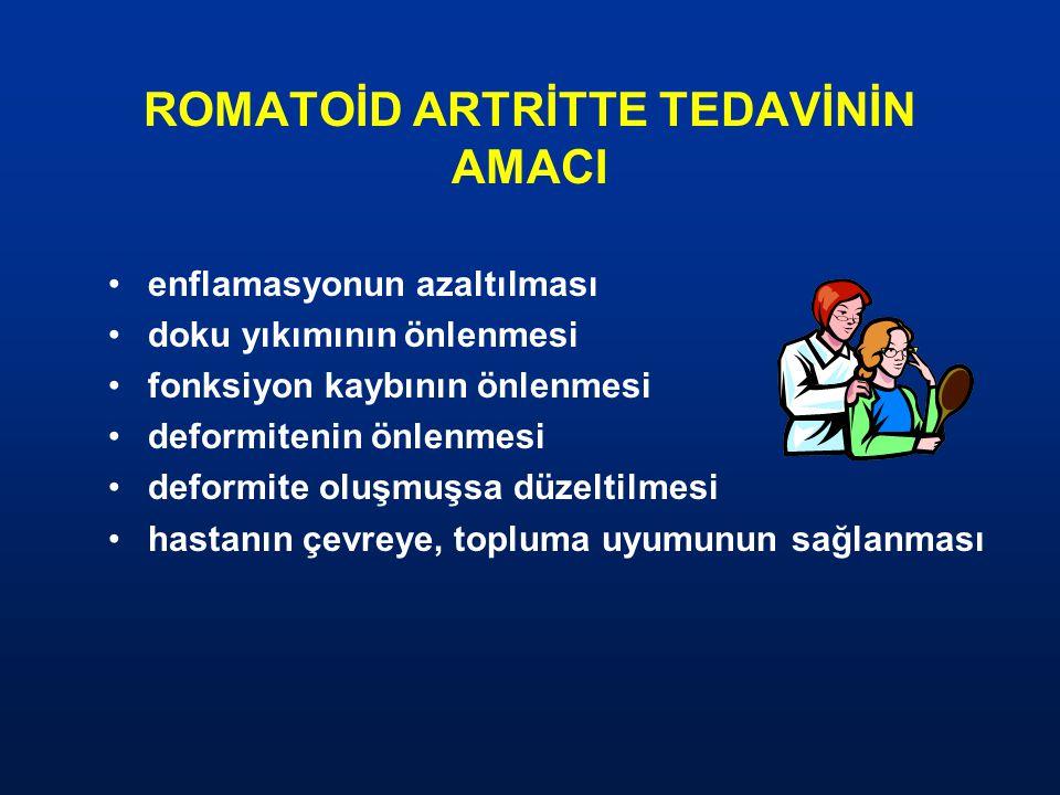 ROMATOİD ARTRİTTE TEDAVİNİN AMACI enflamasyonun azaltılması doku yıkımının önlenmesi fonksiyon kaybının önlenmesi deformitenin önlenmesi deformite olu