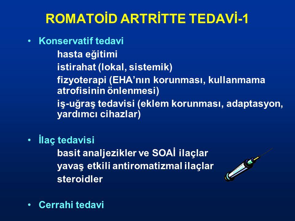 ROMATOİD ARTRİTTE TEDAVİ-1 Konservatif tedavi hasta eğitimi istirahat (lokal, sistemik) fizyoterapi (EHA'nın korunması, kullanmama atrofisinin önlenme