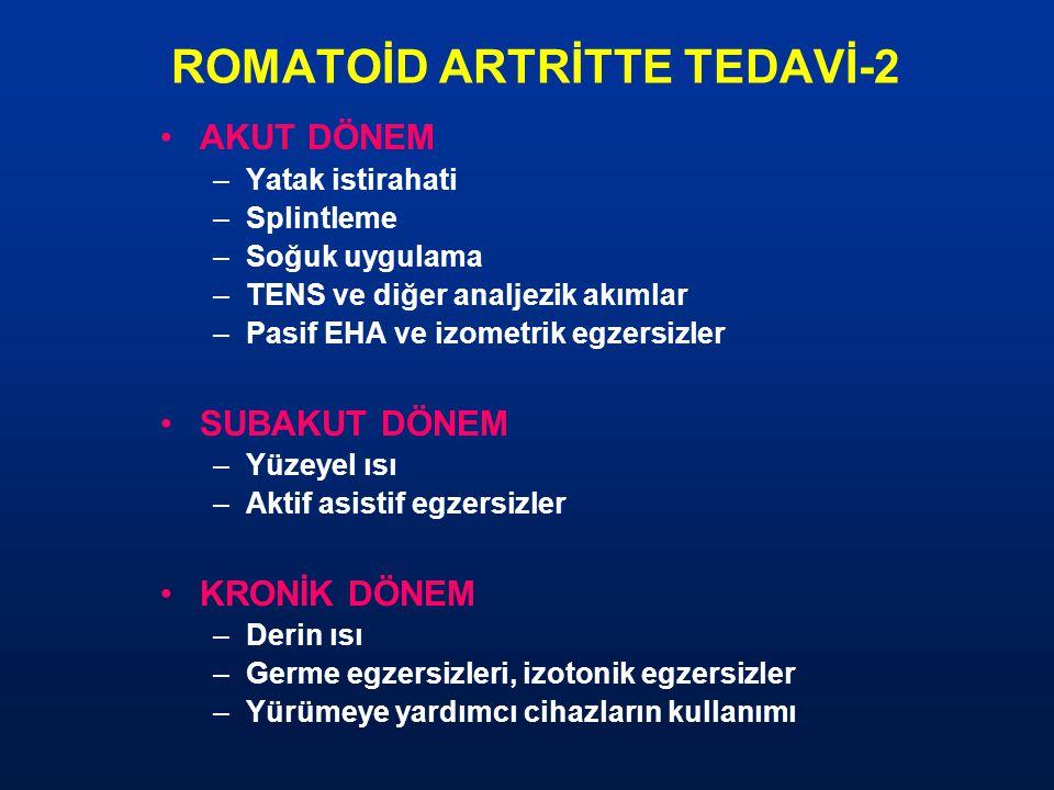 ROMATOİD ARTRİTTE TEDAVİ-2 AKUT DÖNEM –Yatak istirahati –Splintleme –Soğuk uygulama –TENS ve diğer analjezik akımlar –Pasif EHA ve izometrik egzersizl