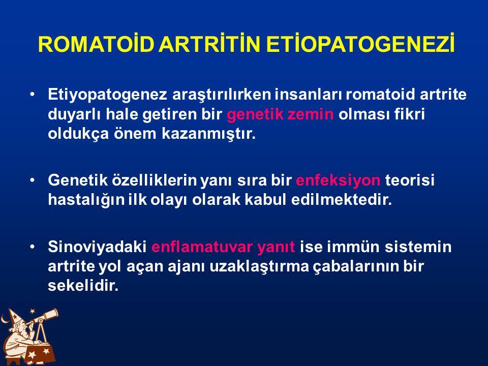 Romatoid Artrit'in en önemli özelliği en sık eller ve ayaklar olmak üzere sinoviyal zarla kaplı tüm eklemlerde bilateral simetrik kronik poliartrit yapmasıdır.