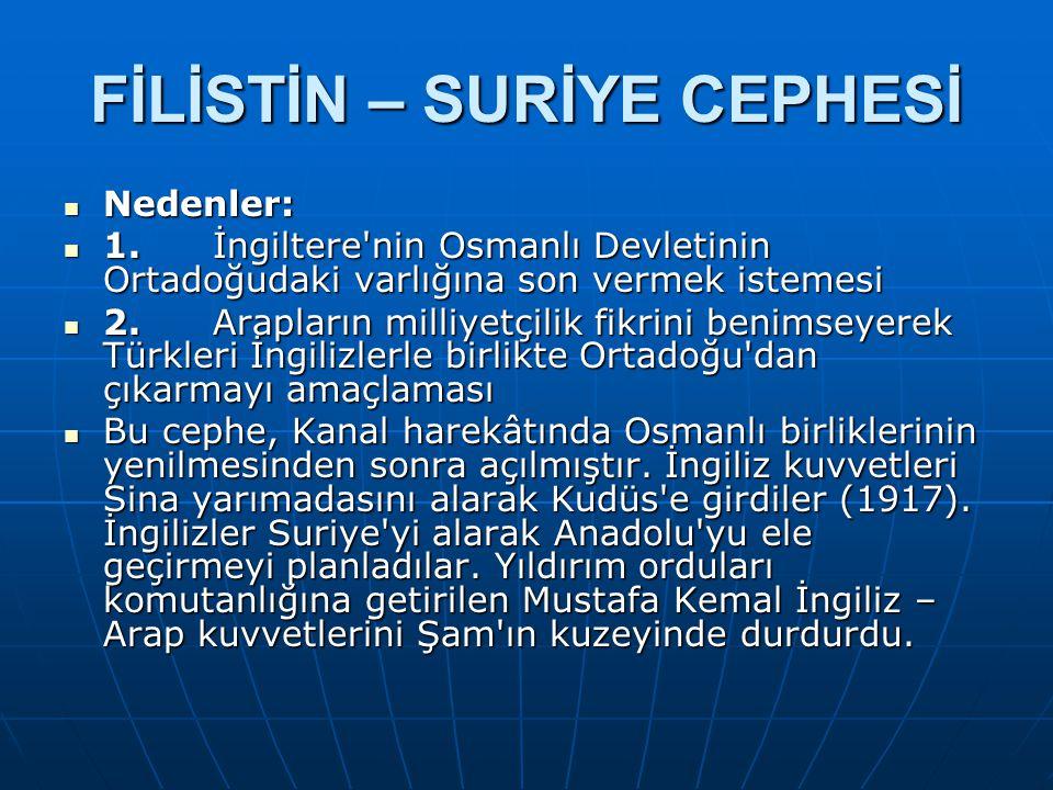 FİLİSTİN – SURİYE CEPHESİ Nedenler: Nedenler: 1. İngiltere'nin Osmanlı Devletinin Ortadoğudaki varlığına son vermek istemesi 1. İngiltere'nin Osmanlı