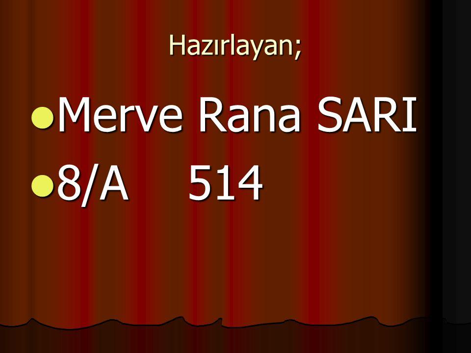 Hazırlayan; Merve Rana SARI Merve Rana SARI 8/A 514 8/A 514
