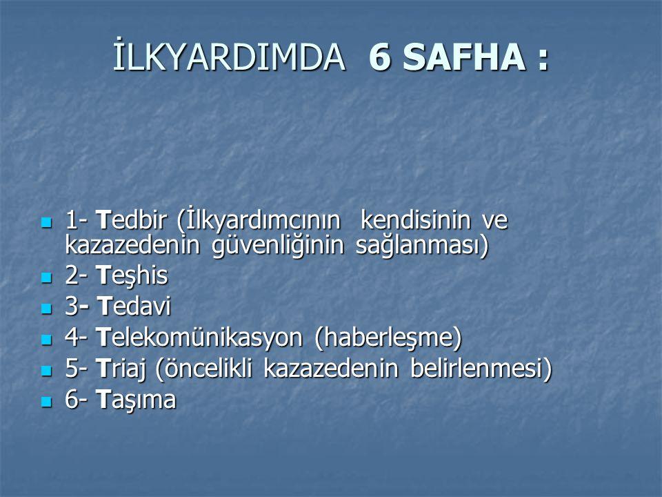 İLKYARDIMDA 6 SAFHA : 1- Tedbir (İlkyardımcının kendisinin ve kazazedenin güvenliğinin sağlanması) 1- Tedbir (İlkyardımcının kendisinin ve kazazedenin güvenliğinin sağlanması) 2- Teşhis 2- Teşhis 3- Tedavi 3- Tedavi 4- Telekomünikasyon (haberleşme) 4- Telekomünikasyon (haberleşme) 5- Triaj (öncelikli kazazedenin belirlenmesi) 5- Triaj (öncelikli kazazedenin belirlenmesi) 6- Taşıma 6- Taşıma