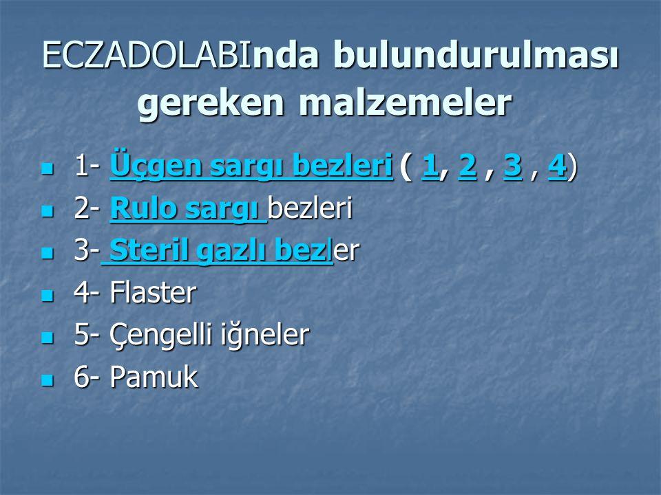 ECZADOLABInda bulundurulması gereken malzemeler ECZADOLABInda bulundurulması gereken malzemeler 1- Üçgen sargı bezleri ( 1, 2, 3, 4) 1- Üçgen sargı bezleri ( 1, 2, 3, 4) Üçgen sargı bezleri1234Üçgen sargı bezleri1234 2- Rulo sargı bezleri 2- Rulo sargı bezleri Rulo sargı Rulo sargı 3- Steril gazlı bezler 3- Steril gazlı bezler Steril gazlı bezl Steril gazlı bezl 4- Flaster 4- Flaster 5- Çengelli iğneler 5- Çengelli iğneler 6- Pamuk 6- Pamuk