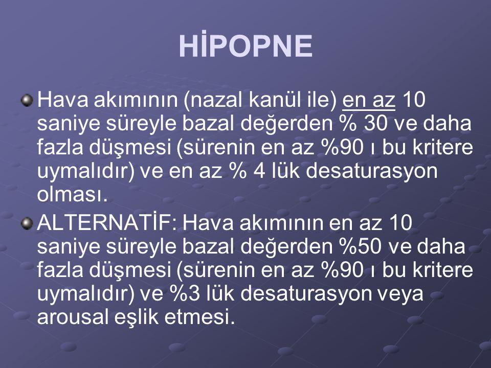 HİPOPNE Hava akımının (nazal kanül ile) en az 10 saniye süreyle bazal değerden % 30 ve daha fazla düşmesi (sürenin en az %90 ı bu kritere uymalıdır) v