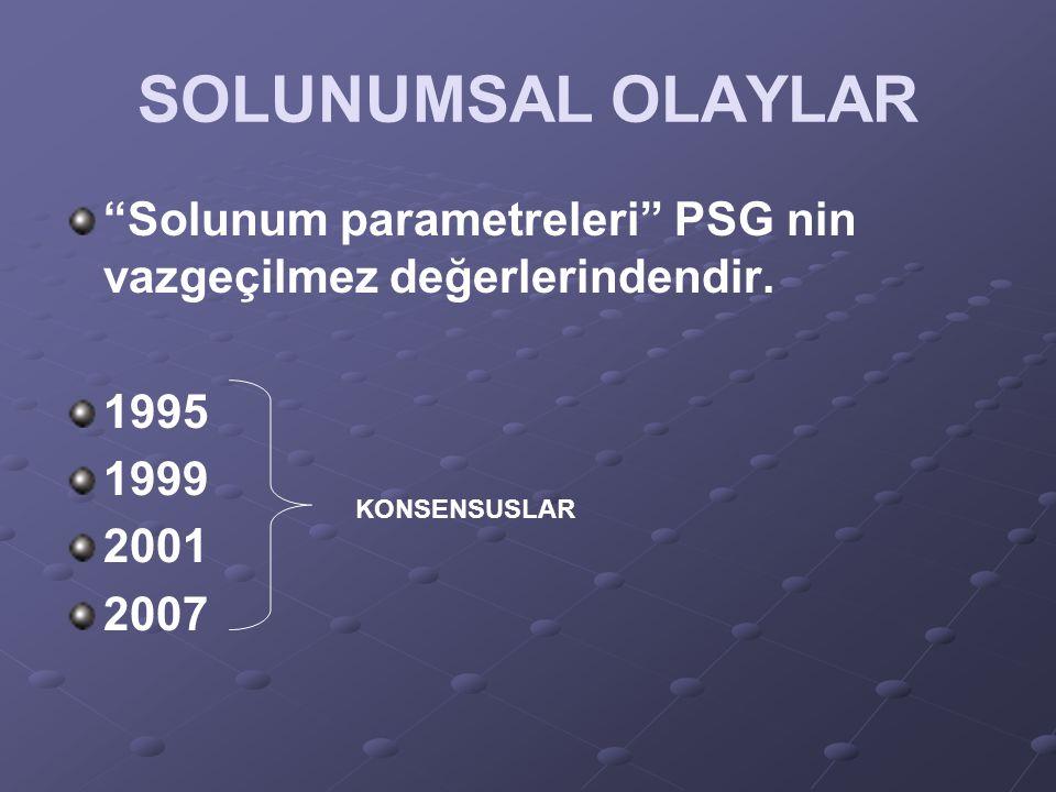 """SOLUNUMSAL OLAYLAR """"Solunum parametreleri"""" PSG nin vazgeçilmez değerlerindendir. 1995 1999 2001 2007 KONSENSUSLAR"""