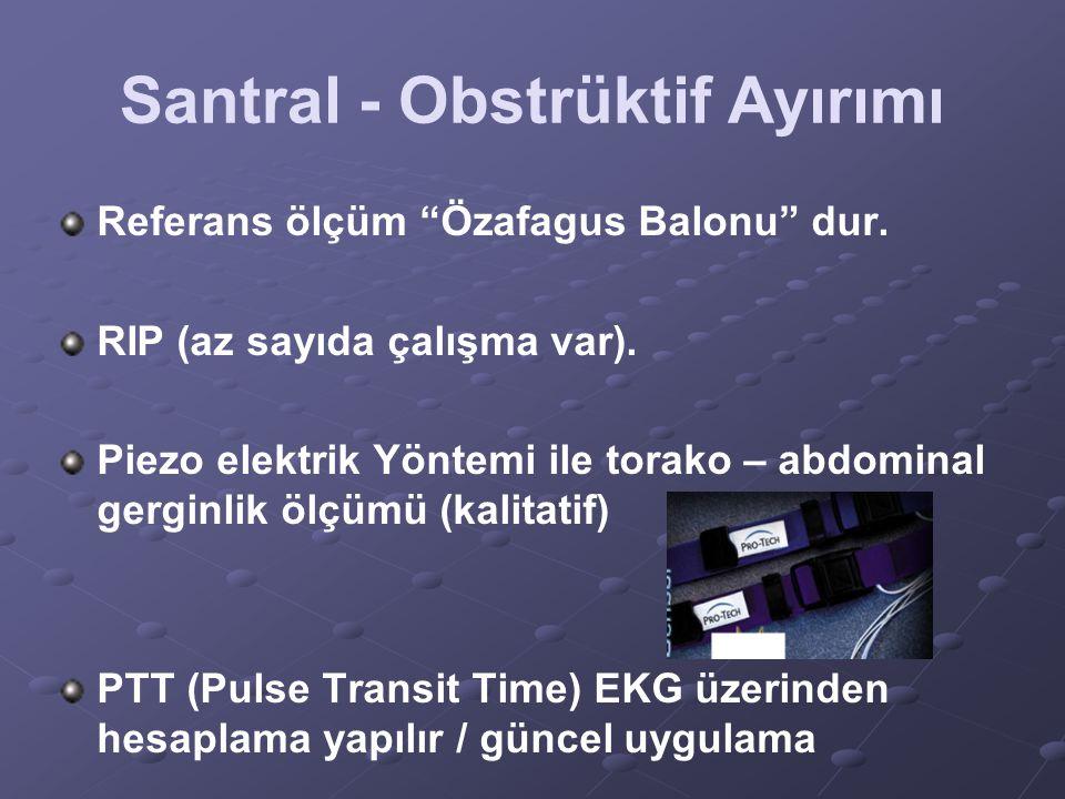 """Santral - Obstrüktif Ayırımı Referans ölçüm """"Özafagus Balonu"""" dur. RIP (az sayıda çalışma var). Piezo elektrik Yöntemi ile torako – abdominal gerginli"""
