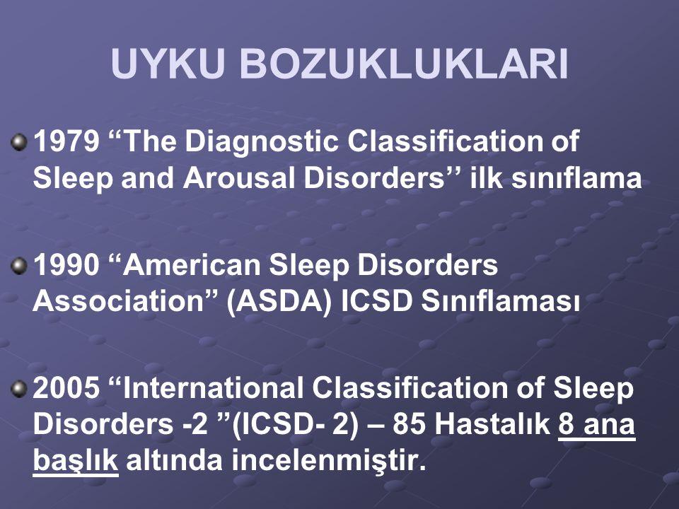 "UYKU BOZUKLUKLARI 1979 ""The Diagnostic Classification of Sleep and Arousal Disorders'' ilk sınıflama 1990 ""American Sleep Disorders Association"" (ASDA"