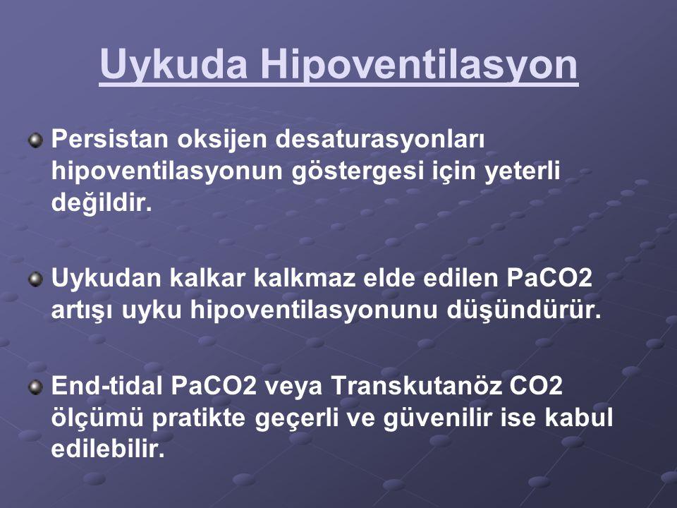 Uykuda Hipoventilasyon Persistan oksijen desaturasyonları hipoventilasyonun göstergesi için yeterli değildir. Uykudan kalkar kalkmaz elde edilen PaCO2