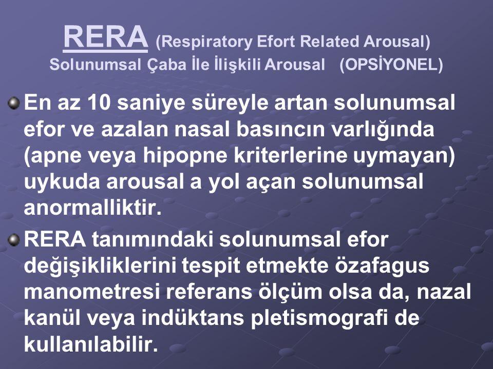 RERA (Respiratory Efort Related Arousal) Solunumsal Çaba İle İlişkili Arousal (OPSİYONEL) En az 10 saniye süreyle artan solunumsal efor ve azalan nasa