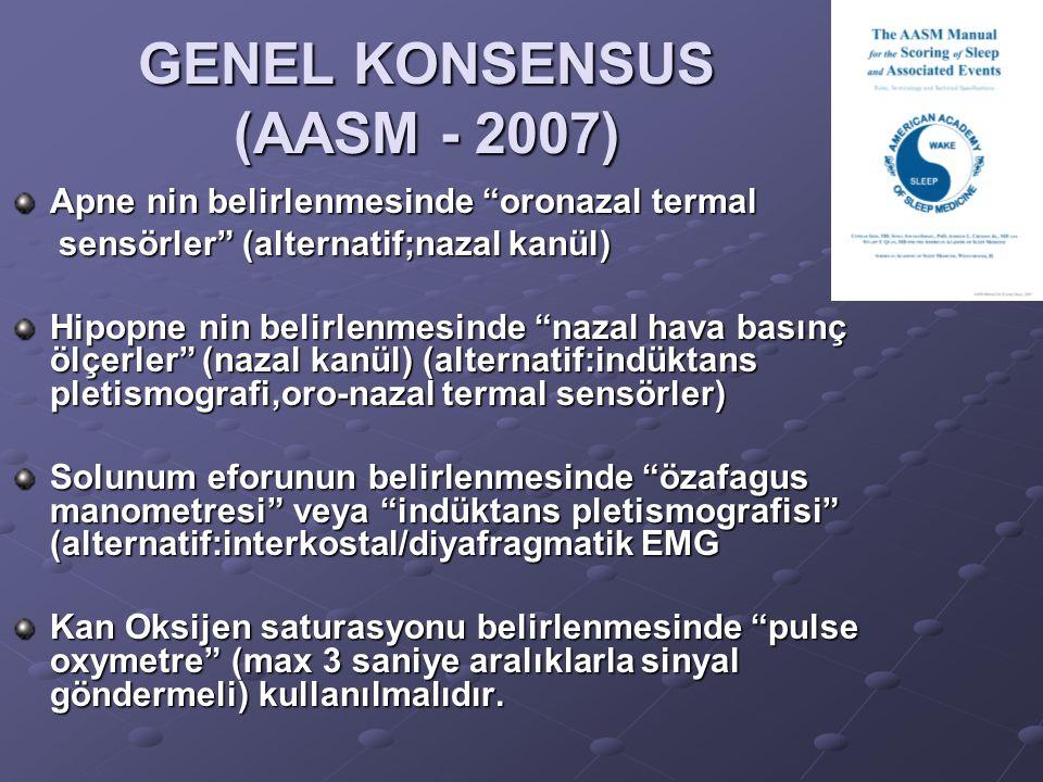"""GENEL KONSENSUS (AASM - 2007) Apne nin belirlenmesinde """"oronazal termal sensörler"""" (alternatif;nazal kanül) sensörler"""" (alternatif;nazal kanül) Hipopn"""