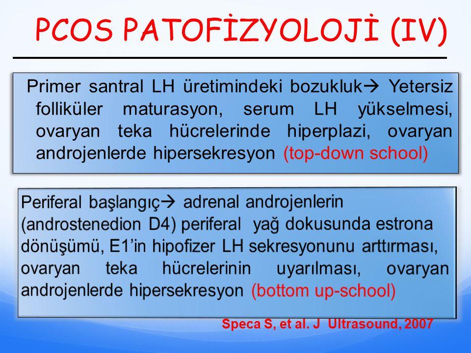 PCOS PATOFİZYOLOJİ (IV) Primer santral LH üretimindeki bozukluk  Yetersiz folliküler maturasyon, serum LH yükselmesi, ovaryan teka hücrelerinde hiper