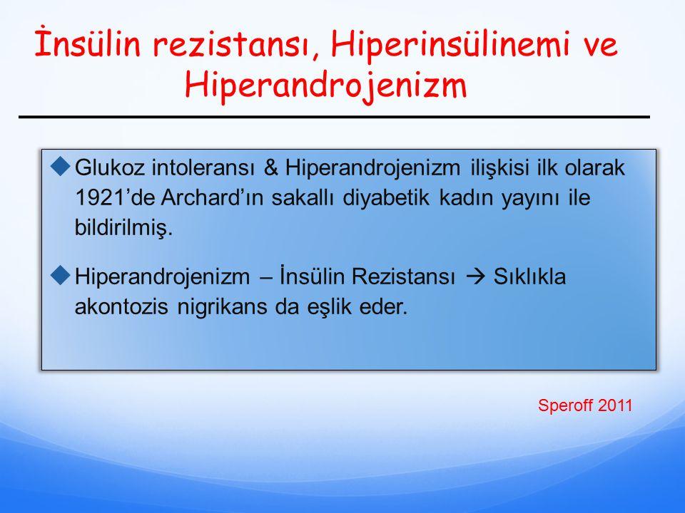 İnsülin rezistansı, Hiperinsülinemi ve Hiperandrojenizm  Glukoz intoleransı & Hiperandrojenizm ilişkisi ilk olarak 1921'de Archard'ın sakallı diyabet