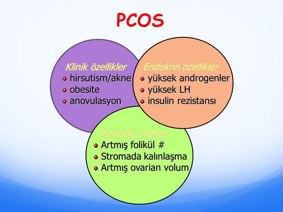 PCOS Klinik özellikler Klinik özellikler hirsutism/akne hirsutism/akne obesite obesite anovulasyon anovulasyon Endokrin özellikler Endokrin özellikler