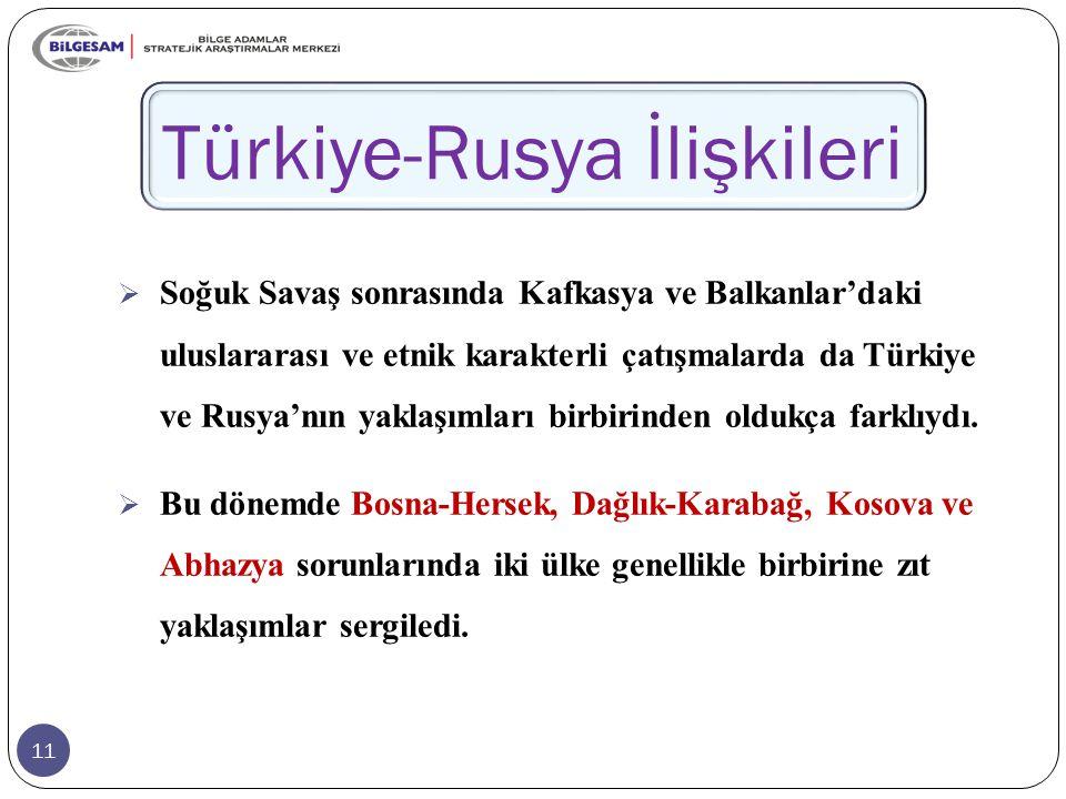 11 Türkiye-Rusya İlişkileri  Soğuk Savaş sonrasında Kafkasya ve Balkanlar'daki uluslararası ve etnik karakterli çatışmalarda da Türkiye ve Rusya'nın yaklaşımları birbirinden oldukça farklıydı.