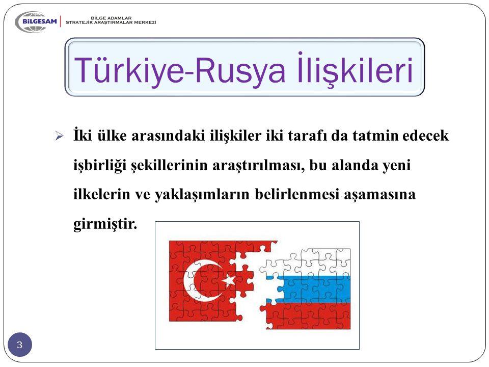 3 Türkiye-Rusya İlişkileri  İki ülke arasındaki ilişkiler iki tarafı da tatmin edecek işbirliği şekillerinin araştırılması, bu alanda yeni ilkelerin ve yaklaşımların belirlenmesi aşamasına girmiştir.
