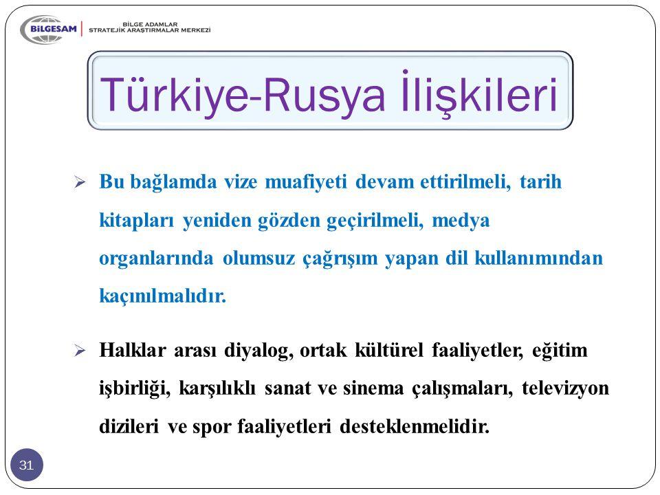 31 Türkiye-Rusya İlişkileri  Bu bağlamda vize muafiyeti devam ettirilmeli, tarih kitapları yeniden gözden geçirilmeli, medya organlarında olumsuz çağrışım yapan dil kullanımından kaçınılmalıdır.