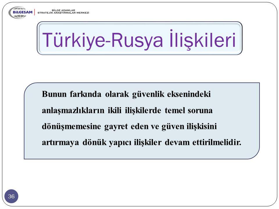 36 Türkiye-Rusya İlişkileri Bunun farkında olarak güvenlik eksenindeki anlaşmazlıkların ikili ilişkilerde temel soruna dönüşmemesine gayret eden ve güven ilişkisini artırmaya dönük yapıcı ilişkiler devam ettirilmelidir.