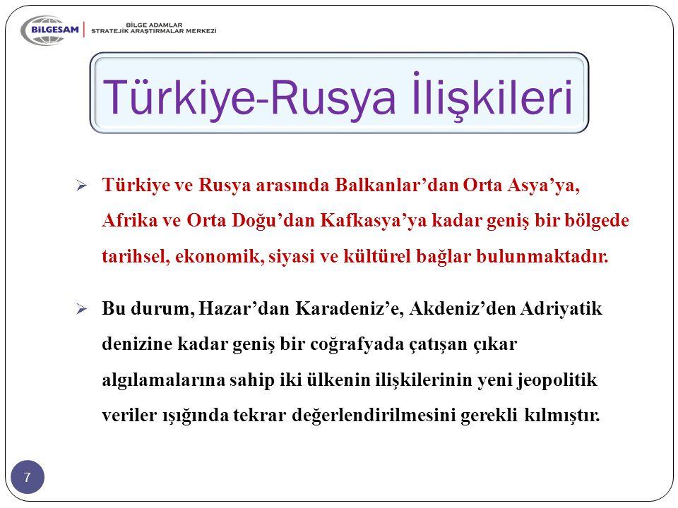 18 Türkiye-Rusya İlişkileri  Türkiye ile Rusya arasındaki ilişkiler, 1990'lı yıllarda rekabet merkezli, daha sonra fırsatlardan istifade edilmek suretiyle, kazan-kazan yaklaşımına uygun olarak bölgesel ve küresel ölçekte çok yönlü olarak geliştirilmiştir.