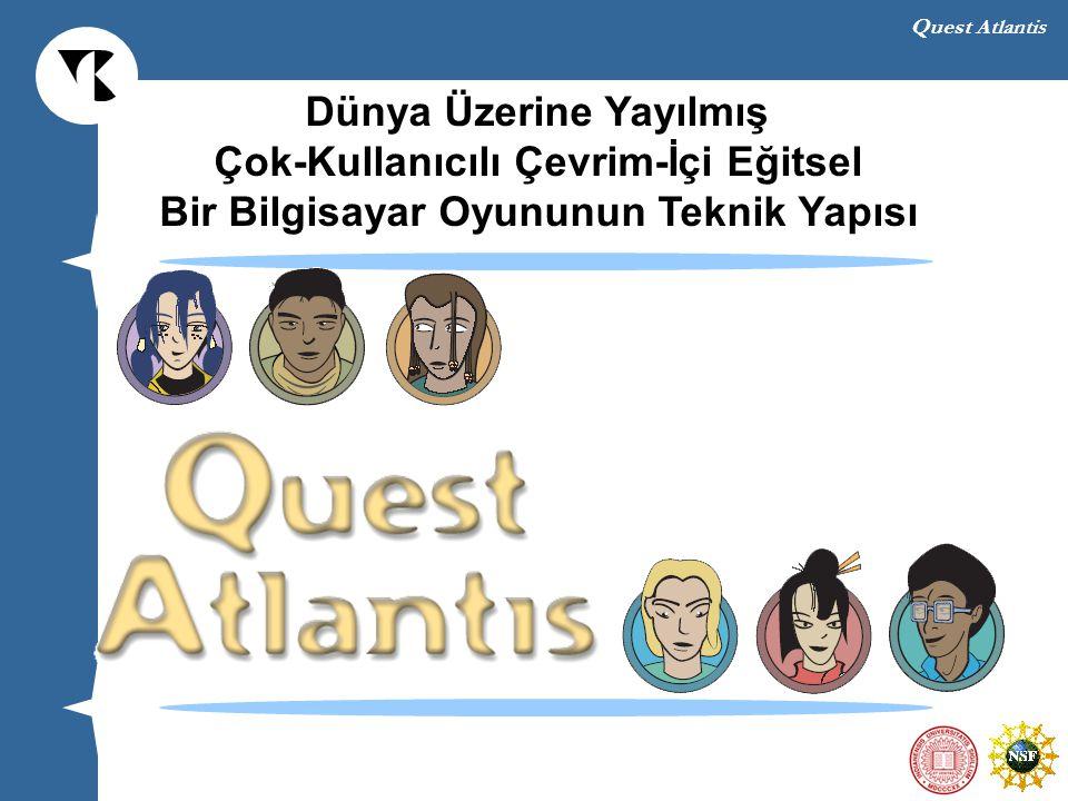 Quest Atlantis Genel Sorunlar ve Bu Sorunların Giderilmesi Tasarıma-dayalı araştırma (Design-Based Research) (Brown, 1992; Collins, 1992) Amacı doğal koşullardaki öğrenme ve öğretmeyi etkileyecek yeni kuramları ve uygulamaları ortaya koymaktır Bu yöntem değişik öğrenme formları tasarlamayı ve bu öğrenme formlarını çalışmayı gerektirir Tasarlanan bağlam devamlı olarak tekrar eden testlere ve revisyonlara tabi tutulur QA tasarımı organik bir süreçtir
