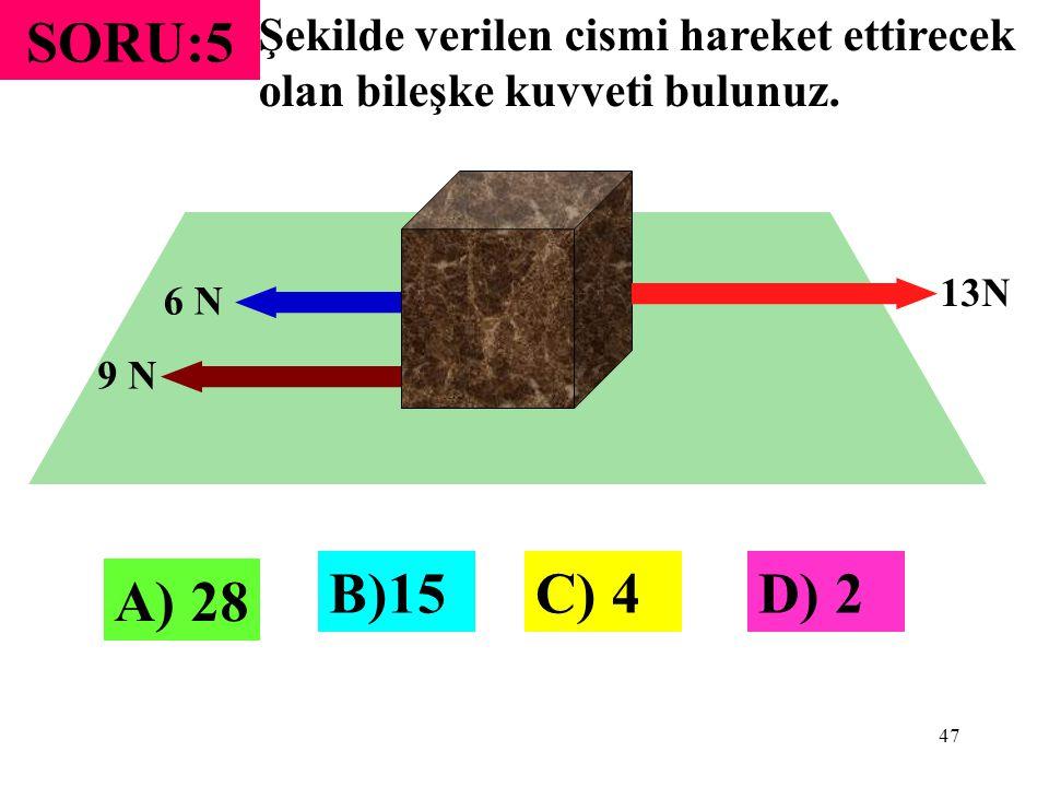47 SORU:5 Şekilde verilen cismi hareket ettirecek olan bileşke kuvveti bulunuz. 13N 9 N 6 N A) 28 B)15C) 4D) 2