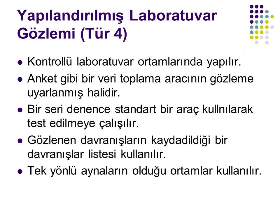 Yapılandırılmış Laboratuvar Gözlemi (Tür 4) Kontrollü laboratuvar ortamlarında yapılır.