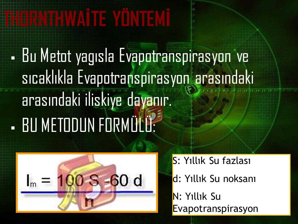 THORNTHWA İ TE YÖNTEM İ  Bu Metot yagısla Evapotranspirasyon ve sıcaklıkla Evapotranspirasyon arasındaki arasındaki iliskiye dayanır.  BU METODUN FO
