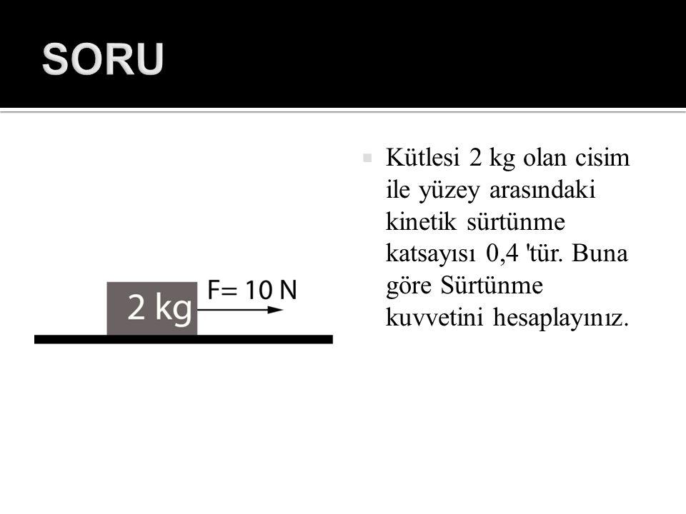  Kütlesi 2 kg olan cisim ile yüzey arasındaki kinetik sürtünme katsayısı 0,4 'tür. Buna göre Sürtünme kuvvetini hesaplayınız.