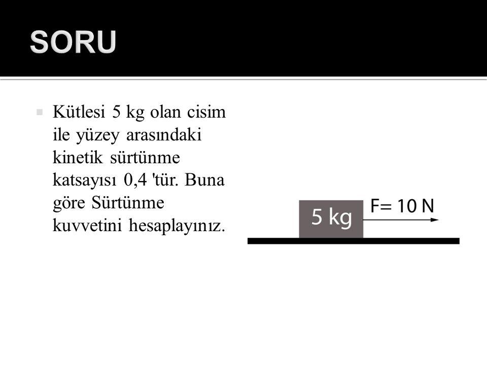  Kütlesi 5 kg olan cisim ile yüzey arasındaki kinetik sürtünme katsayısı 0,4 'tür. Buna göre Sürtünme kuvvetini hesaplayınız.