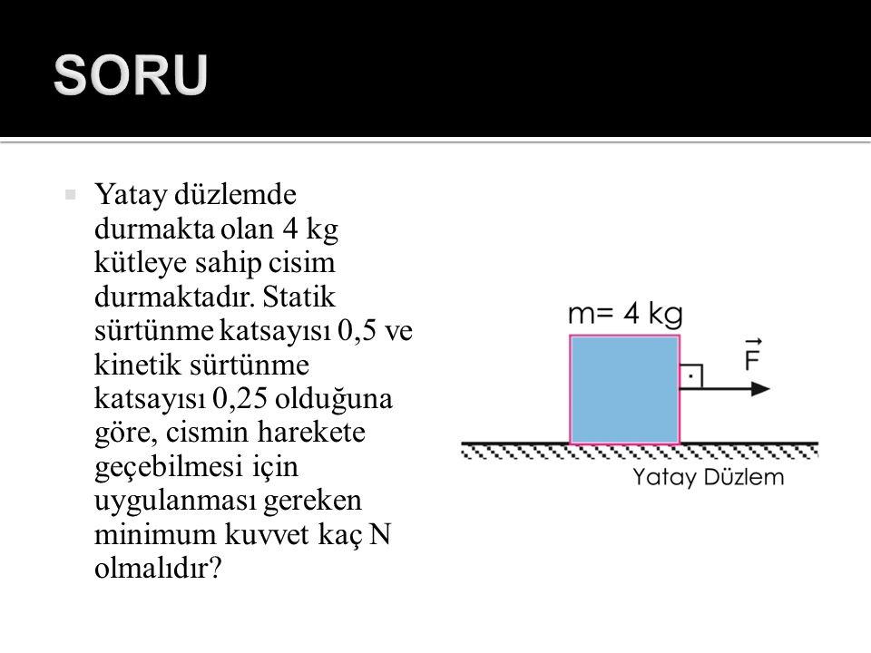  Yatay düzlemde durmakta olan 4 kg kütleye sahip cisim durmaktadır. Statik sürtünme katsayısı 0,5 ve kinetik sürtünme katsayısı 0,25 olduğuna göre, c