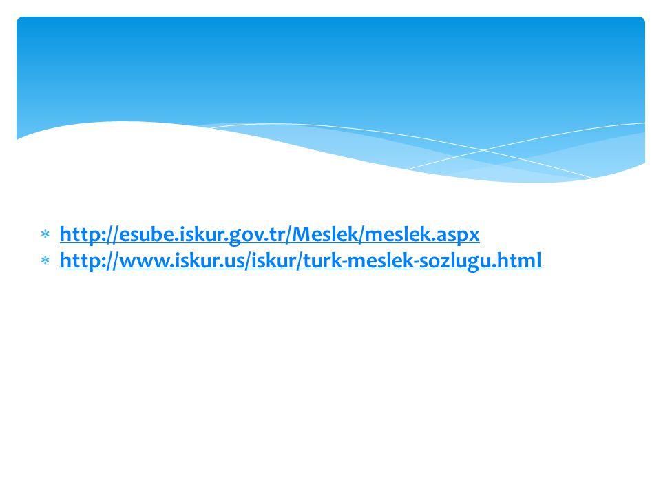  http://esube.iskur.gov.tr/Meslek/meslek.aspx http://esube.iskur.gov.tr/Meslek/meslek.aspx  http://www.iskur.us/iskur/turk-meslek-sozlugu.html http: