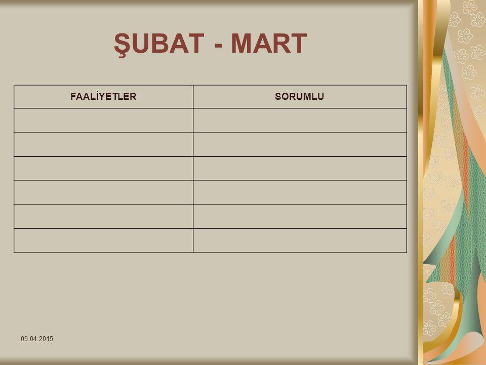 09.04.2015 ŞUBAT - MART FAALİYETLERSORUMLU