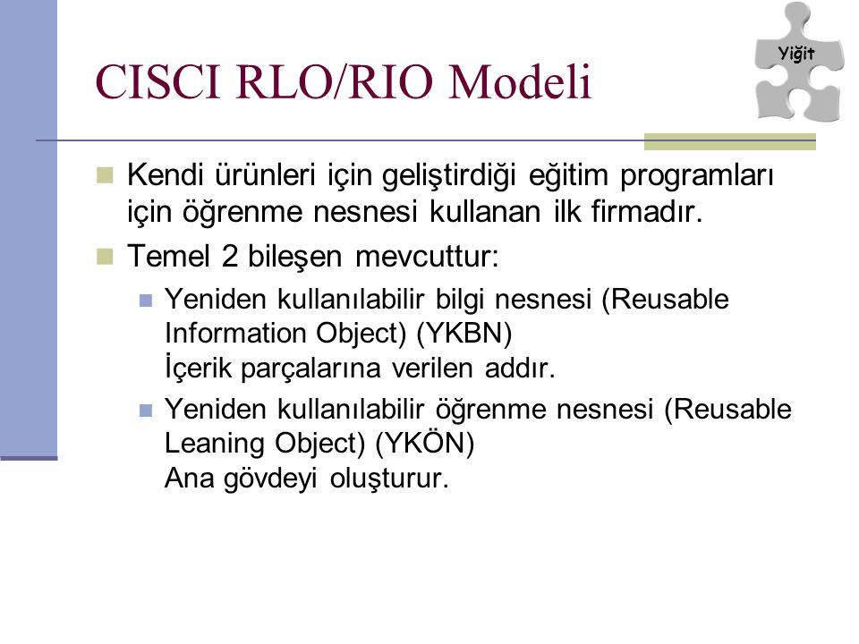 CISCI RLO/RIO Modeli Kendi ürünleri için geliştirdiği eğitim programları için öğrenme nesnesi kullanan ilk firmadır. Temel 2 bileşen mevcuttur: Yenide