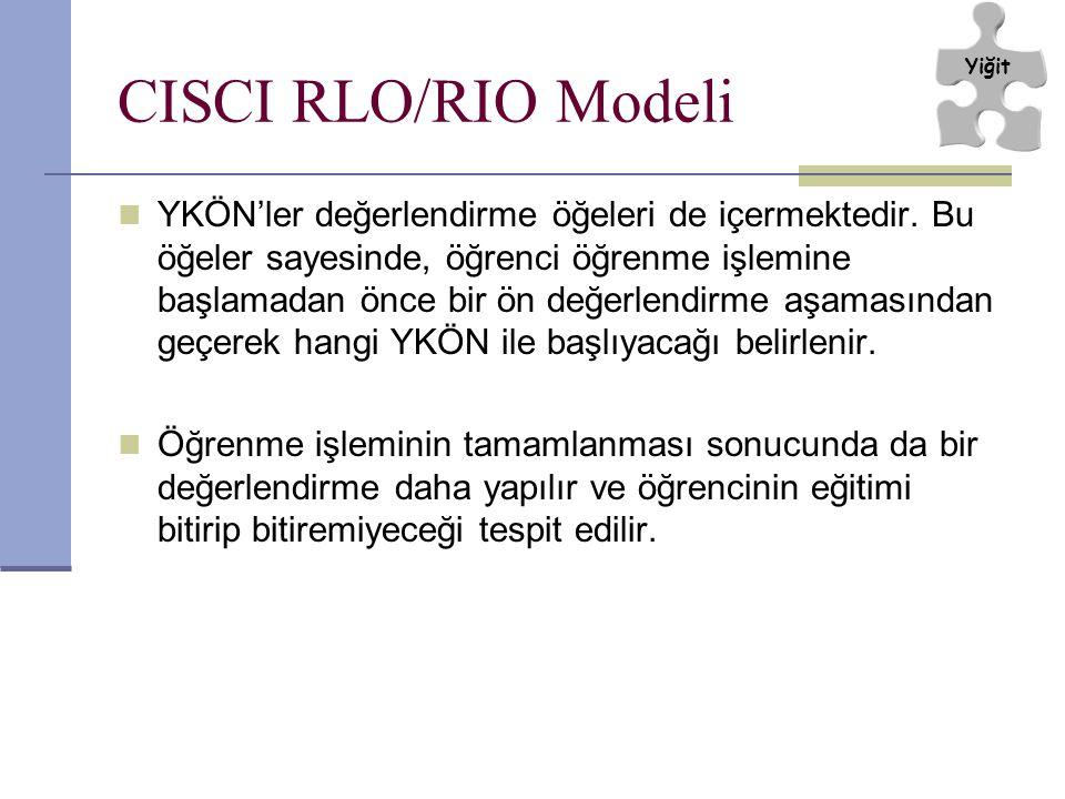 CISCI RLO/RIO Modeli YKÖN'ler değerlendirme öğeleri de içermektedir. Bu öğeler sayesinde, öğrenci öğrenme işlemine başlamadan önce bir ön değerlendirm