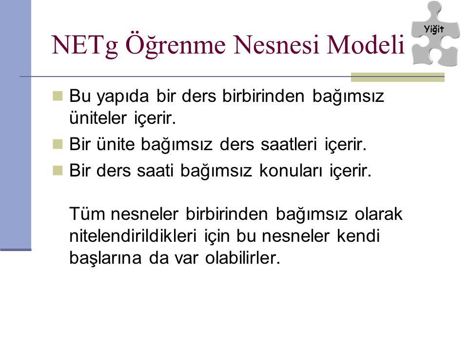NETg Öğrenme Nesnesi Modeli Bu yapıda bir ders birbirinden bağımsız üniteler içerir. Bir ünite bağımsız ders saatleri içerir. Bir ders saati bağımsız