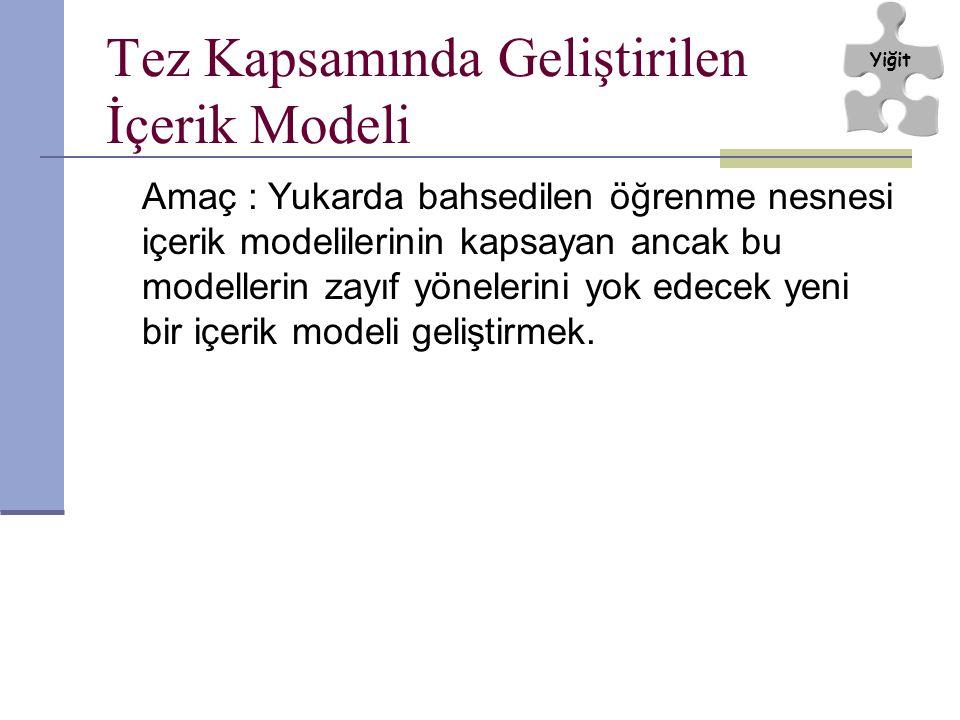Tez Kapsamında Geliştirilen İçerik Modeli Amaç : Yukarda bahsedilen öğrenme nesnesi içerik modelilerinin kapsayan ancak bu modellerin zayıf yönelerini