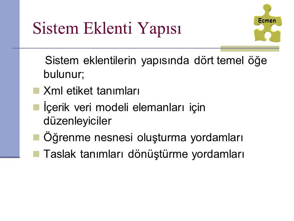 Sistem Eklenti Yapısı Sistem eklentilerin yapısında dört temel öğe bulunur; Xml etiket tanımları İçerik veri modeli elemanları için düzenleyiciler Öğr