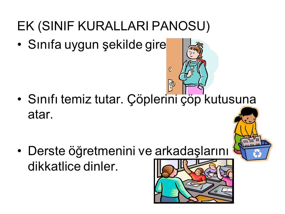 EK (SINIF KURALLARI PANOSU) Sınıfa uygun şekilde girer. Sınıfı temiz tutar. Çöplerini çöp kutusuna atar. Derste öğretmenini ve arkadaşlarını dikkatlic