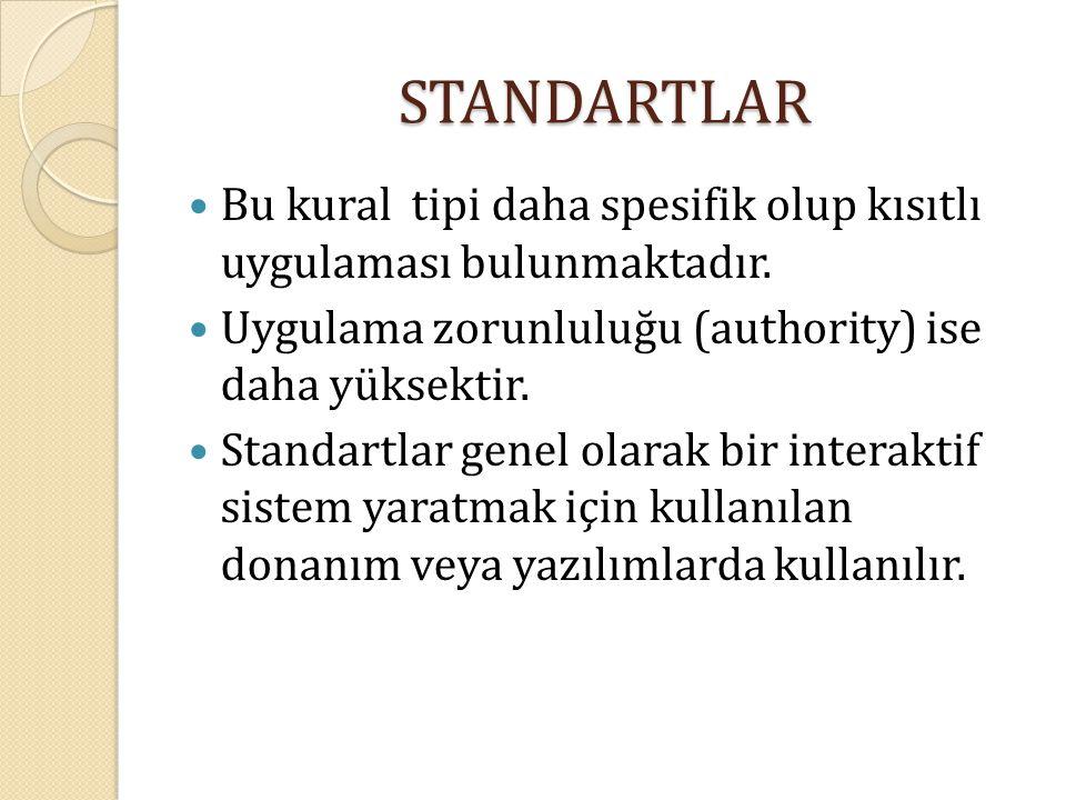 STANDARTLAR Bu kural tipi daha spesifik olup kısıtlı uygulaması bulunmaktadır. Uygulama zorunluluğu (authority) ise daha yüksektir. Standartlar genel