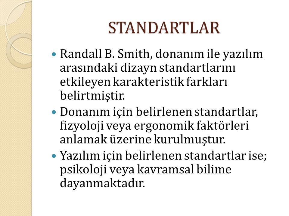 STANDARTLAR Randall B. Smith, donanım ile yazılım arasındaki dizayn standartlarını etkileyen karakteristik farkları belirtmiştir. Donanım için belirle