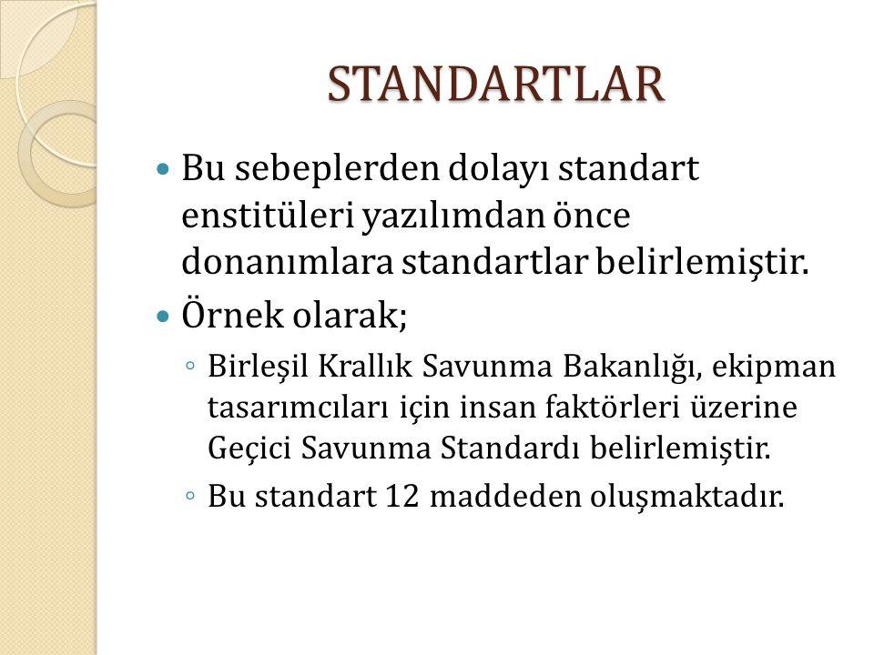 STANDARTLAR Bu sebeplerden dolayı standart enstitüleri yazılımdan önce donanımlara standartlar belirlemiştir. Örnek olarak; ◦ Birleşil Krallık Savunma