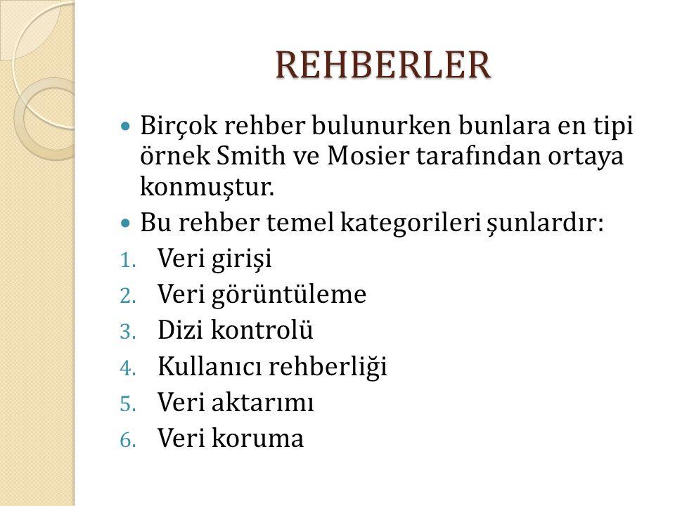 REHBERLER Birçok rehber bulunurken bunlara en tipi örnek Smith ve Mosier tarafından ortaya konmuştur. Bu rehber temel kategorileri şunlardır: 1. Veri