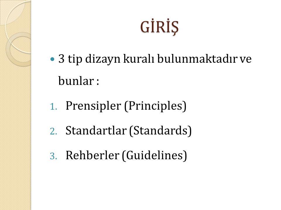 GİRİŞ 3 tip dizayn kuralı bulunmaktadır ve bunlar : 1. Prensipler (Principles) 2. Standartlar (Standards) 3. Rehberler (Guidelines)