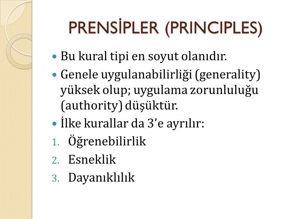 PRENS İ PLER (PRINCIPLES) Bu kural tipi en soyut olanıdır. Genele uygulanabilirliği (generality) yüksek olup; uygulama zorunluluğu (authority) düşüktü
