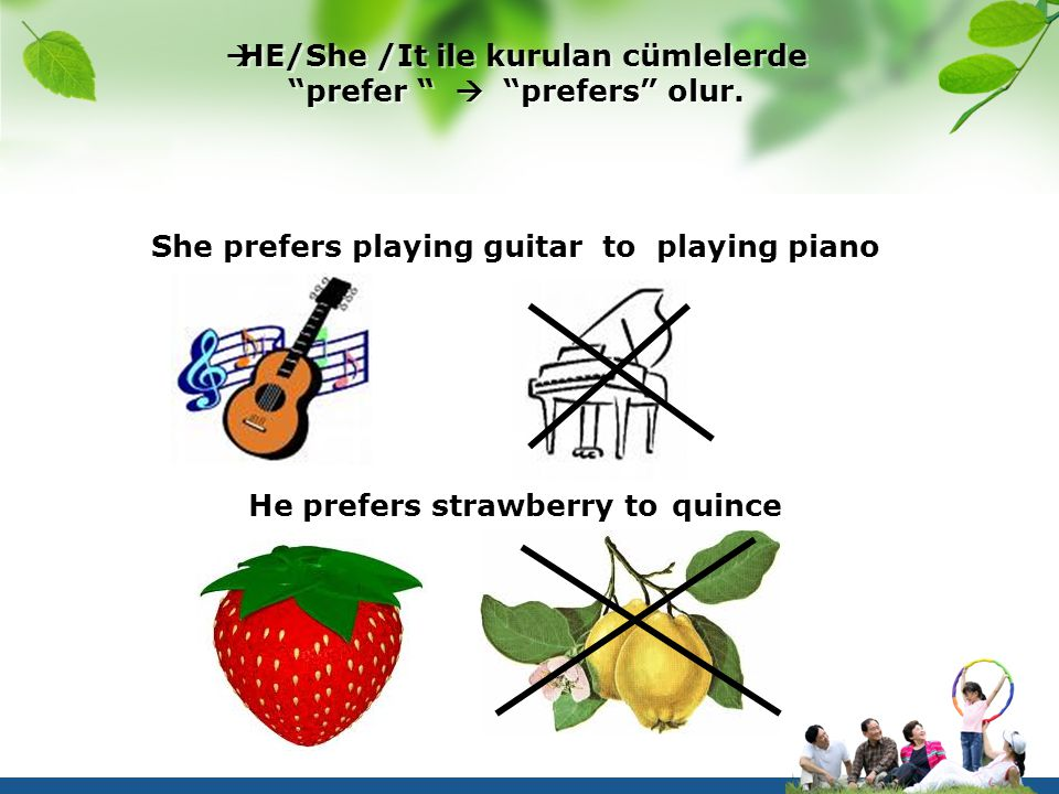 " HE/She /It ile kurulan cümlelerde ""prefer ""  ""prefers"" olur. She prefers playing guitar to playing piano He prefers strawberry to quince"