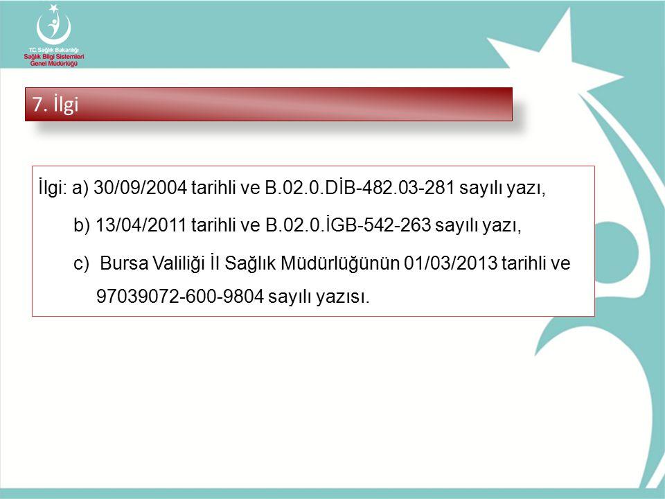 7. İlgi İlgi: a) 30/09/2004 tarihli ve B.02.0.DİB-482.03-281 sayılı yazı, b) 13/04/2011 tarihli ve B.02.0.İGB-542-263 sayılı yazı, c) Bursa Valiliği İ