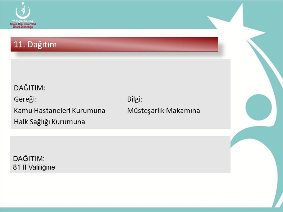 11. Dağıtım DAĞITIM: Gereği:Bilgi: Kamu Hastaneleri KurumunaMüsteşarlık Makamına Halk Sağlığı Kurumuna DAĞITIM: 81 İl Valiliğine