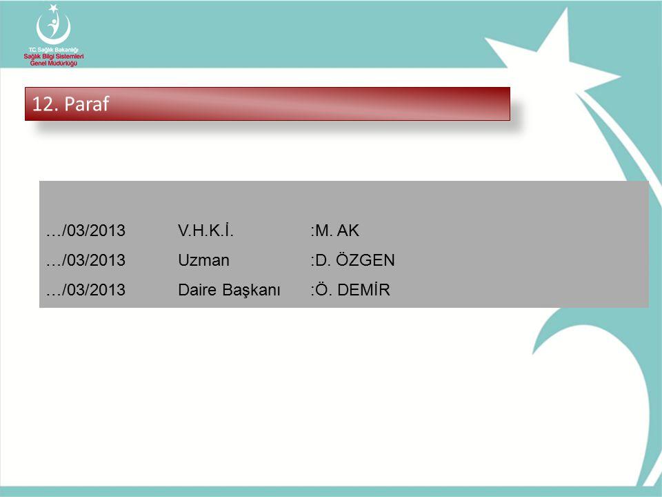 12. Paraf …/03/2013V.H.K.İ.:M. AK …/03/2013Uzman:D. ÖZGEN …/03/2013Daire Başkanı:Ö. DEMİR