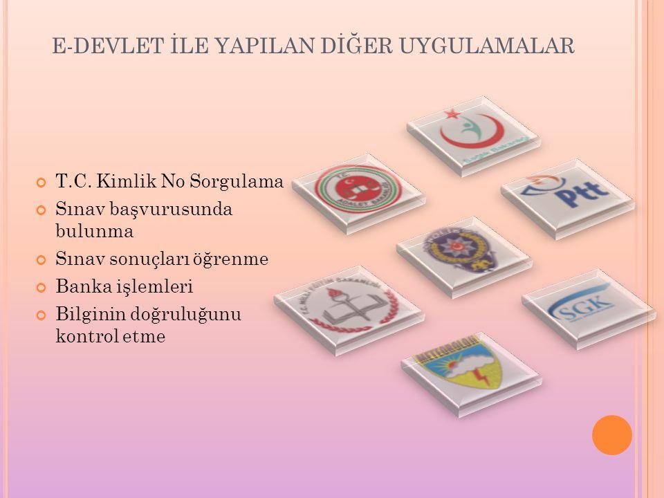 E-DEVLET İLE YAPILAN DİĞER UYGULAMALAR T.C.
