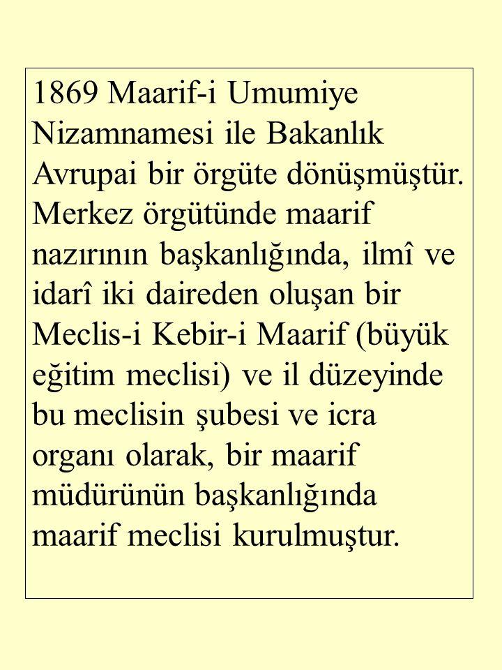 1879'da Nezaret merkez örgütü, öğretim basamaklarına göre daireler halinde düzenlenmiş ve bu temelde, Cumhuriyet döneminde de geçerliliğini sürdürmüştür.